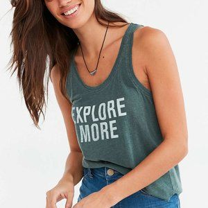 "UO Green ""Explore More"" Distressed Tank"
